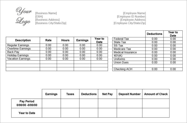 Pay Stub Template Free Word PDF Excel Format Documents - Free pay stub forms