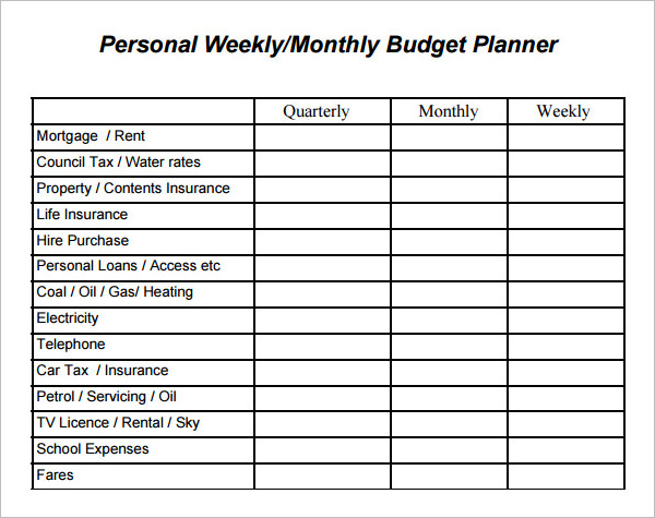 personal Weekly Budget Template Form
