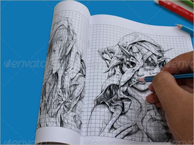 photorealistic sketch book mockup