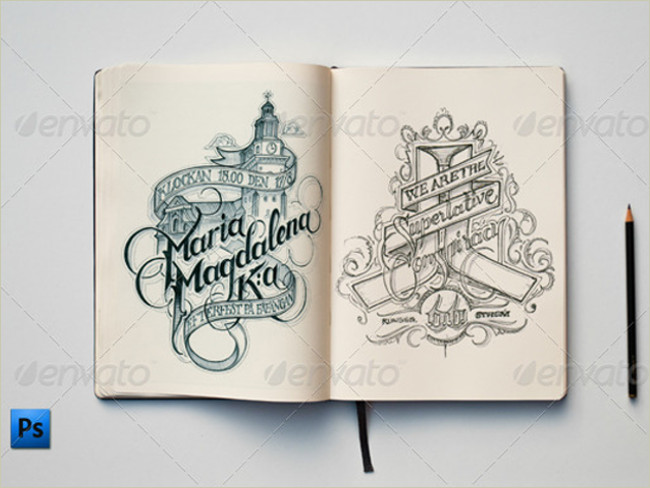 photoshop psd sketch book mockup