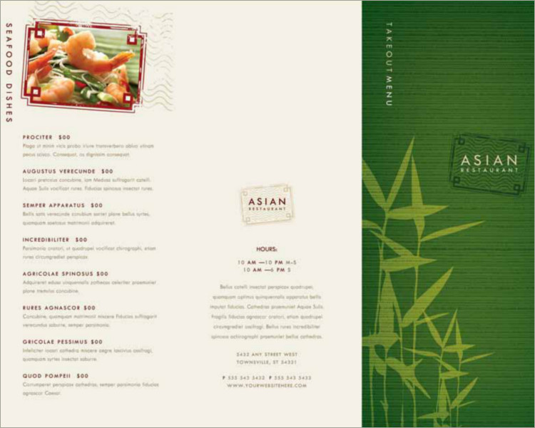 restaurent menu brochure template