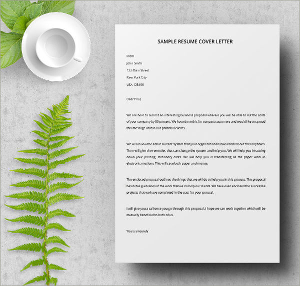 sample resume cover letter
