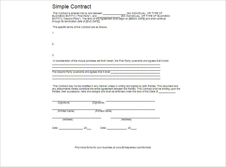 simple Contract Template PDF Format