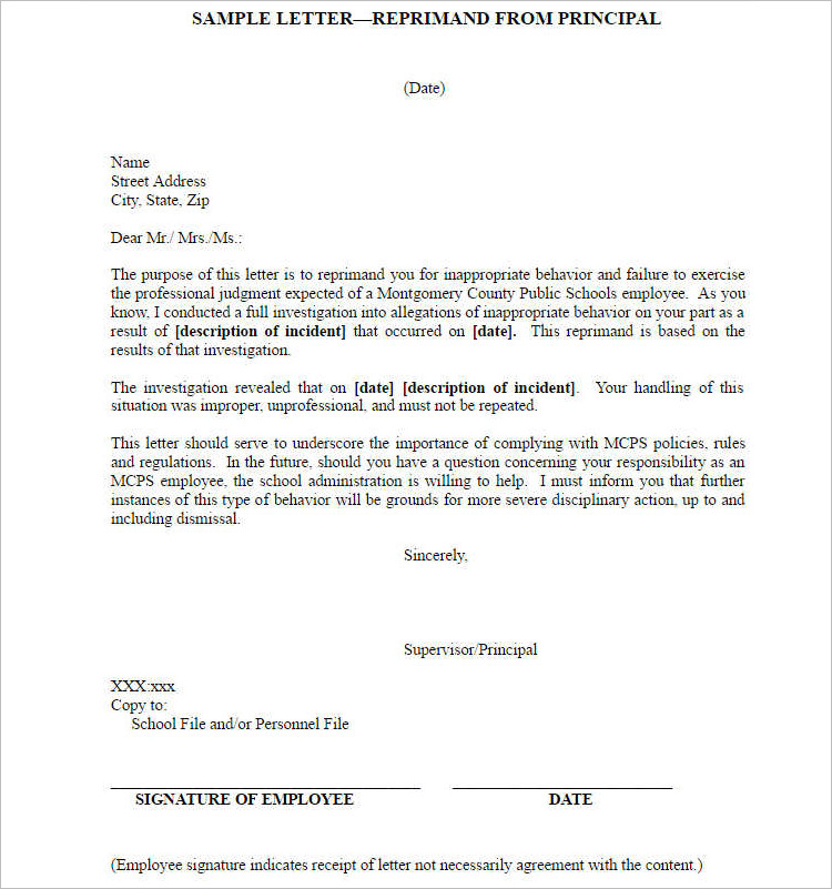 Employee Letter Of Reprimand Examples from www.creativetemplate.net