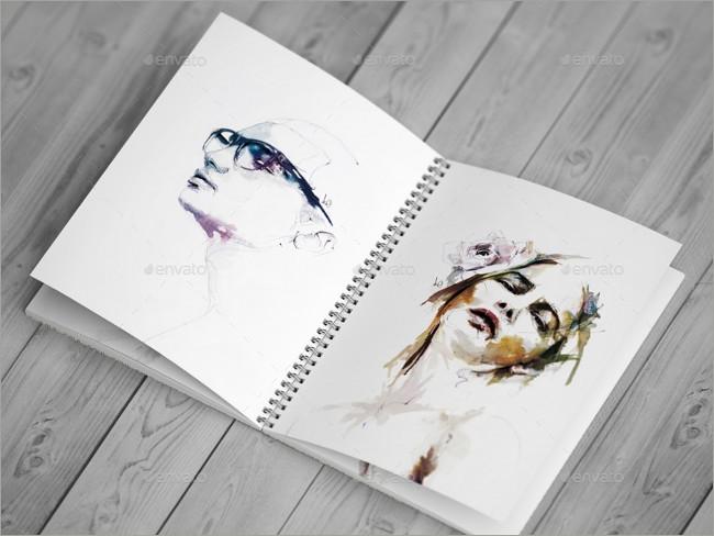 sketch book mockup design template