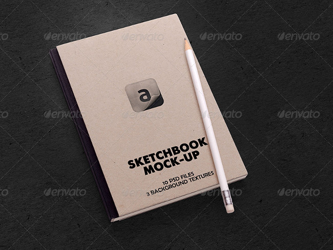 sketch book mockup with editable background texture