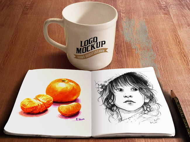 sketch book with cofee cup