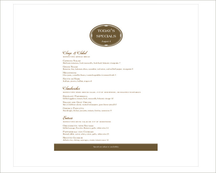 special menu template