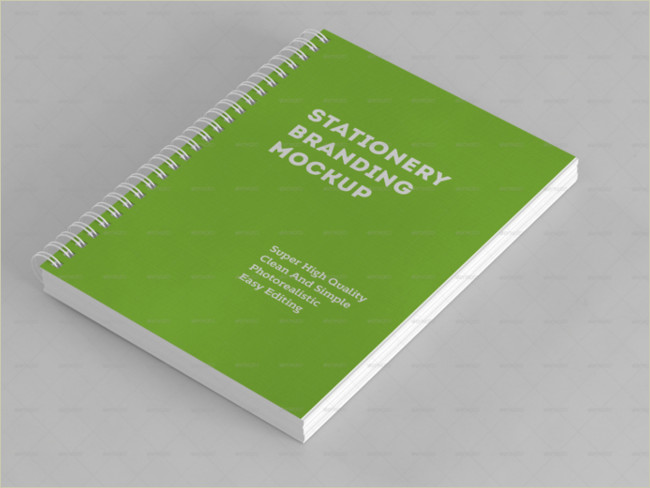 spiral book stationary mockup