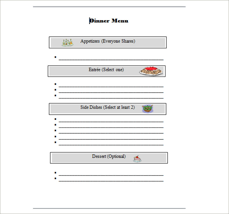 Free Menu Templates Pdf Word Documents Download