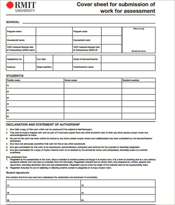 work assesment cover sheet