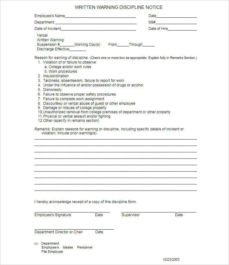 Employments Write Up Form Template Free Word PDF Documents – Warning Notice Template