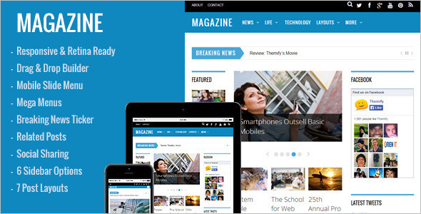 3 Column Magzane WordPress Templates