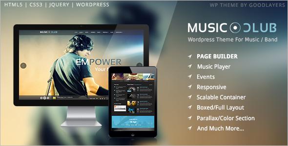 3 Column Music Band WordPress Template