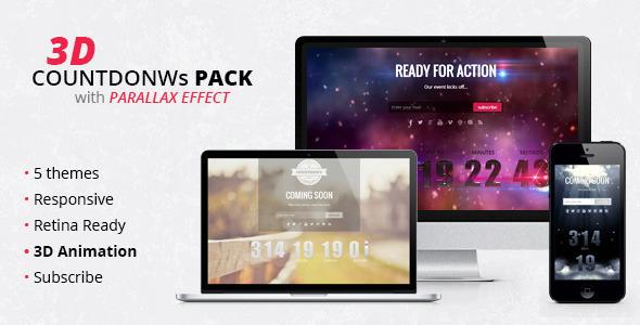 3D Countdowns Pack WordPress Template