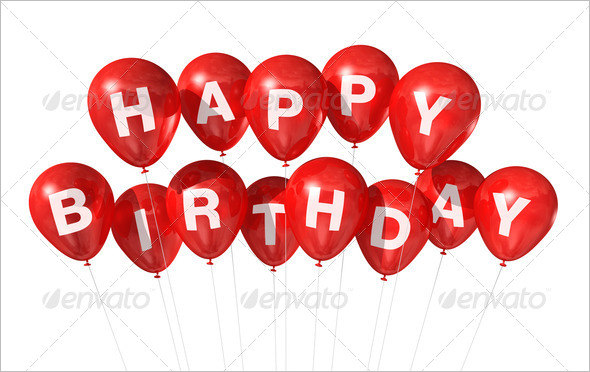 3D Red Happy Birthday Balloons Background
