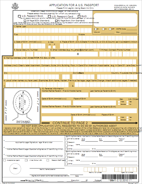 Application Form Template For U.S. Passport