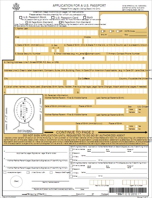 Application Form Template For U.S. Passport