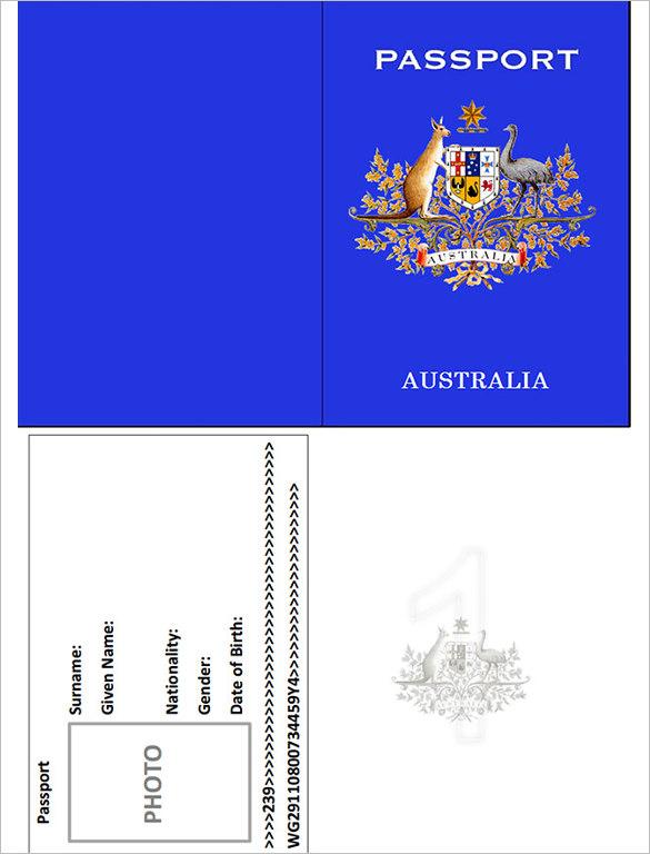 Australia Passport Template