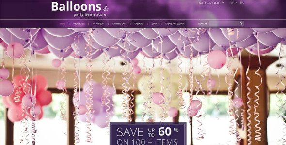 Balloons and Party Stuff OpenCart Template