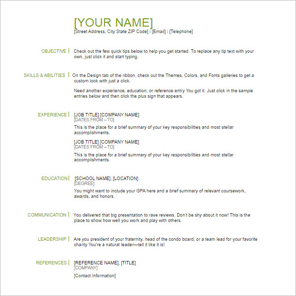 6 basic resume template pdf form - Brief Resume Format