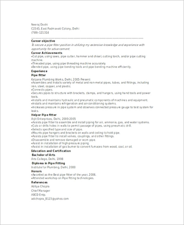 Best Pipefitter Resume Template