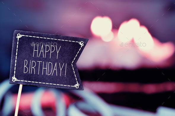 Black Flag Chalkboard Happy Birthday Background