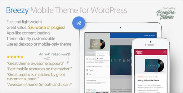 Breezy Mobile WordPress Template Design