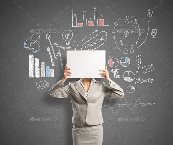 Businesswoman with Static Banner Background