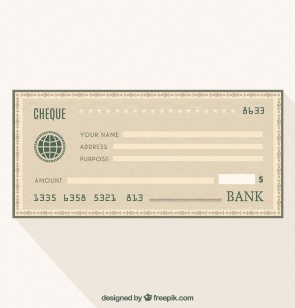 Cheque bank Free Vector