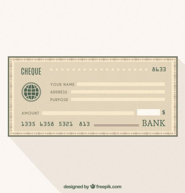 Cheque bank Free Vector