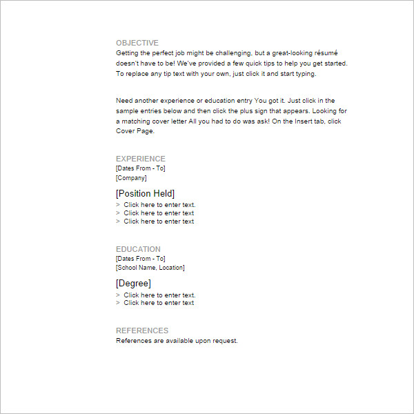 Microsoft Resume Sample Resumes For Management Positions Easy