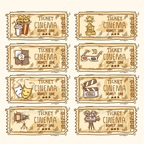 Cinema ticket set