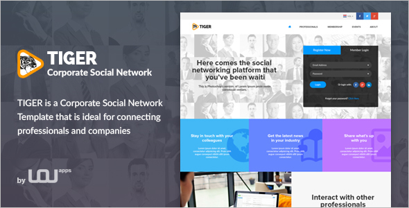Corporate Social Networking Website Theme