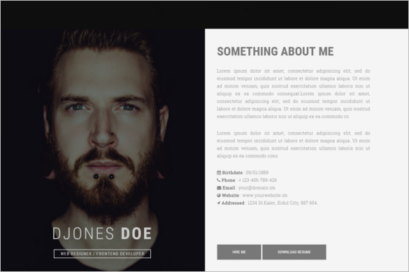 Creative Resume HTML Template Format