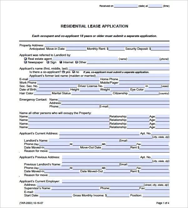 Credit Check Application Form Template