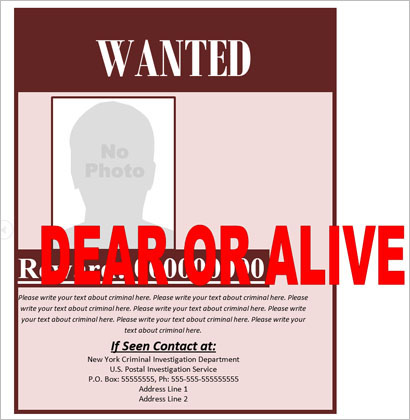 Criminal Created FBI Wanted Poster Template