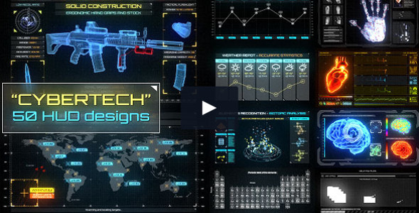 CyberTech HUD Infographic Pack