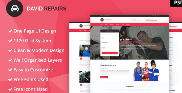 Repairs PSD Single Page Website Template