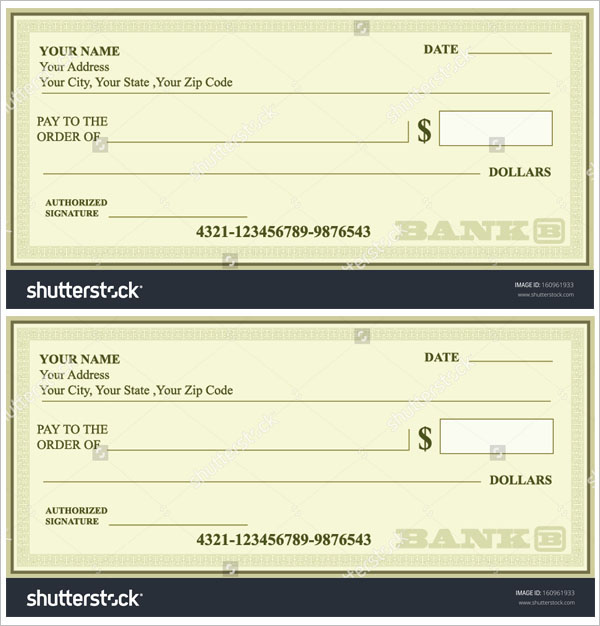Designer Blank Check Vector Template