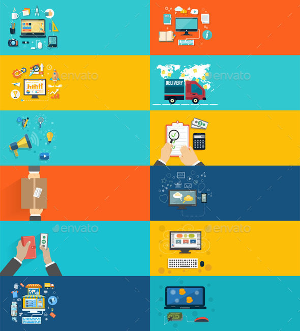 Digital Icons Set Banners for Web Design Template
