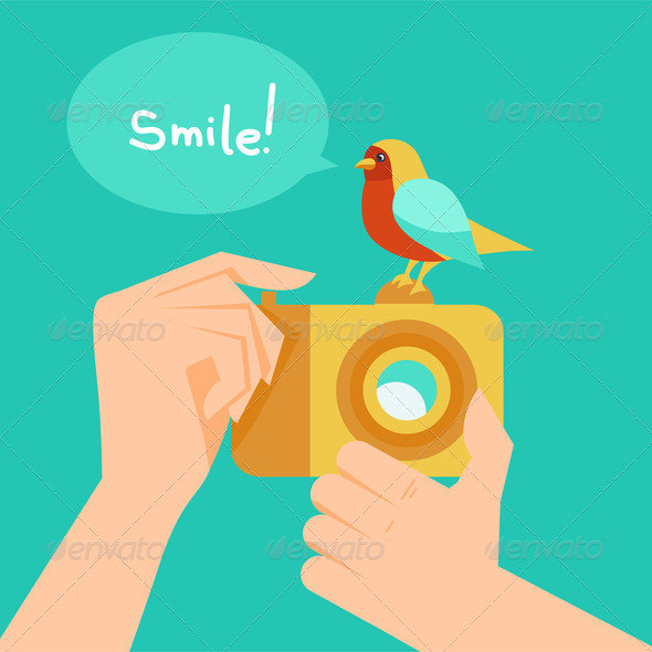 Digital camera and cartoon bird