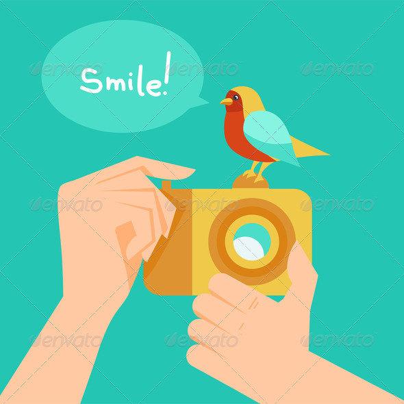 Digital camera and cartoon bird