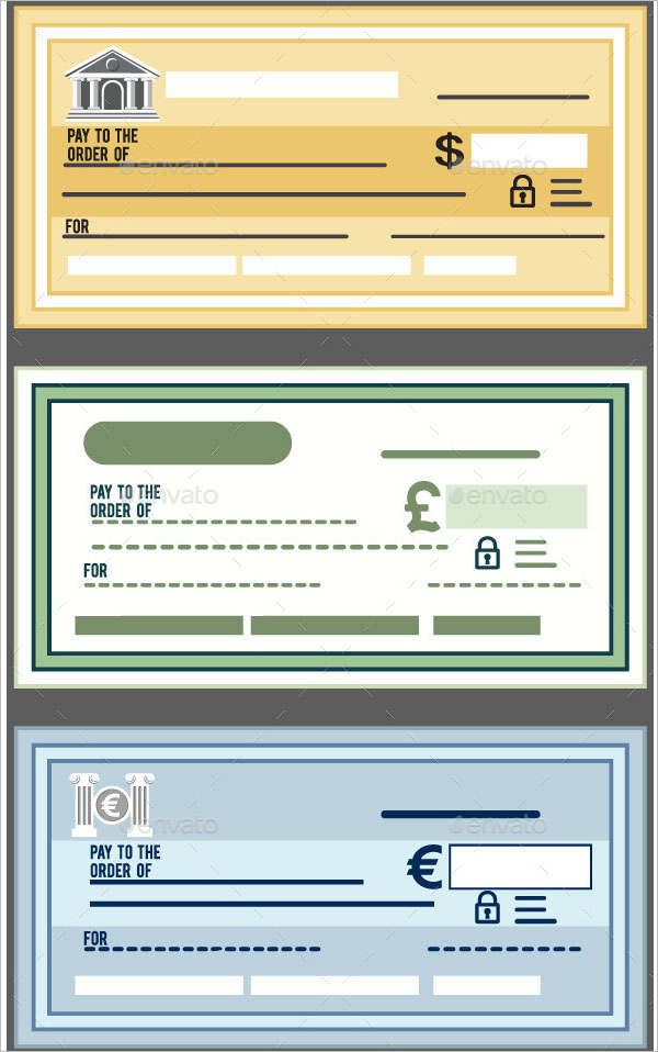Editable Flat Style Bank Check Template