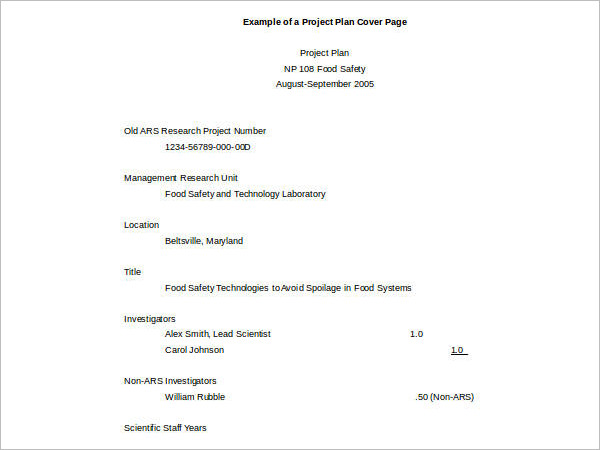 Example Cover Sheet Template Form