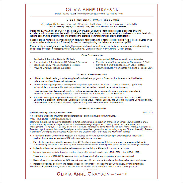 Executive Resume Template Formta