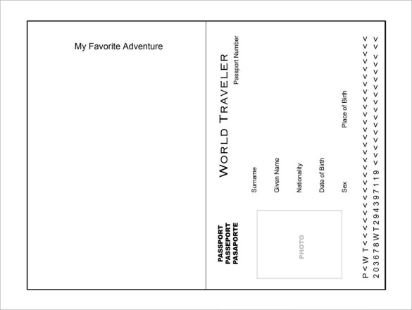 printable passport template for kids passport templates free word pdf psd illustrator