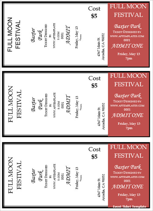 Free Movie Ticket Template