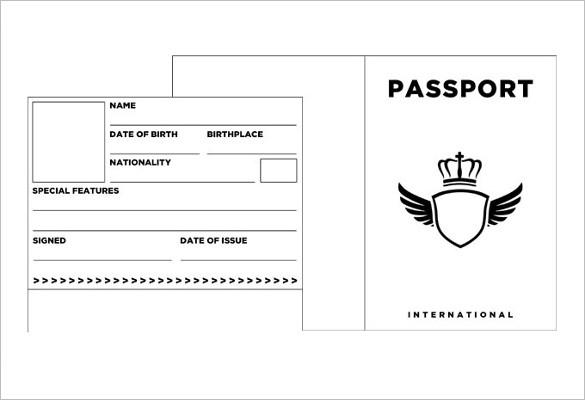 Free Passport Template prinrable