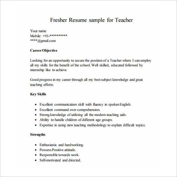 Fresher Resume Template Form